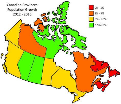 canadian map by population canadian provinces population growth 2012 2016