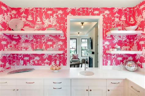 pink wallpaper kitchen white kitchen with pink thibaut south seas wallpaper lined
