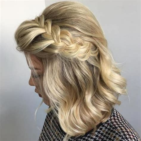bob haircut with plait 50 hottest prom hairstyles for short hair