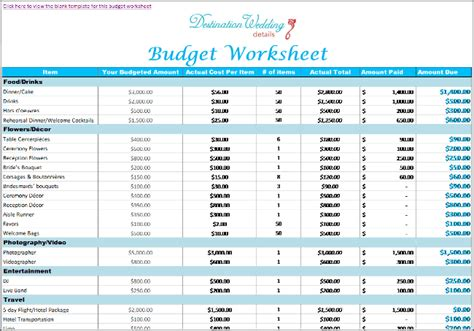 Super Simple Destination Wedding Planning Spreadsheets Bridal Shower Budget Template