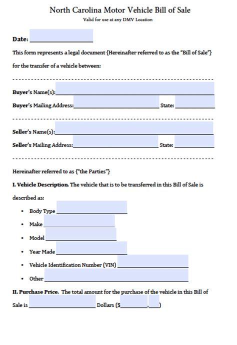 Free North Carolina DMV (Vehicle) Bill of Sale Form   PDF