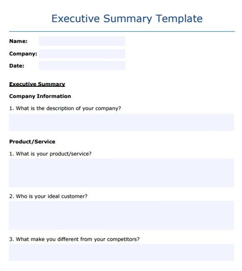 executive summary template word executive summary template 14 documents in pdf