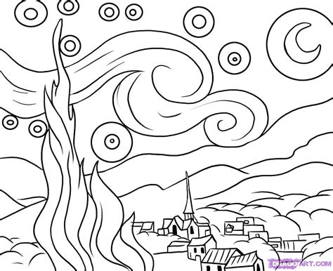 starry night by van gogh coloring page az coloring pages