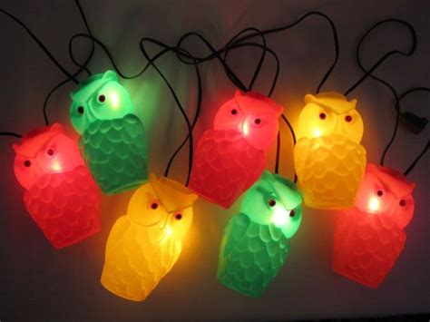 original mold owl patio string lights vintage 1960s