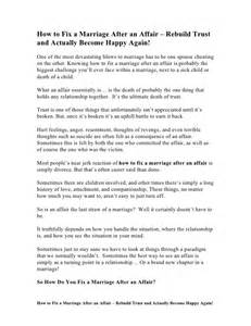 how to fix a marriage after an affair rebuild trust and