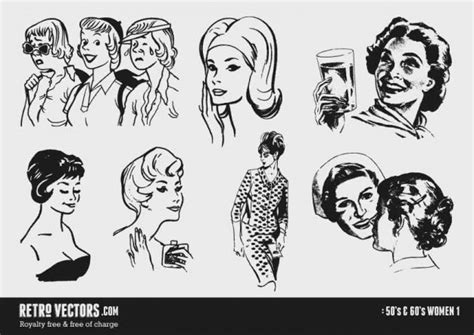 drawings of 1950 boy s hairstyles 50 e 60 mulheres baixar vetores gr 225 tis