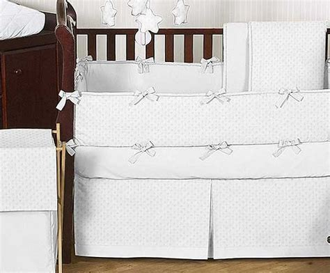Minky Dot White Crib Bedding Set By Sweet Jojo Designs 9 All White Crib Bedding
