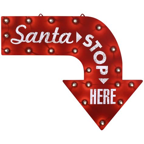 christmas signs for indoors new santa stop here sign led lighted arrow gemmy indoor outdoor ebay