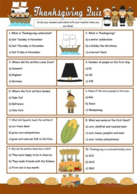 was thanksgiving a success quiz thanksgiving quiz worksheet free esl printable worksheets made by teachers