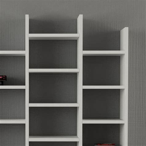 librerie a parete in legno barry libreria da parete per salotto bianco o caffelatte