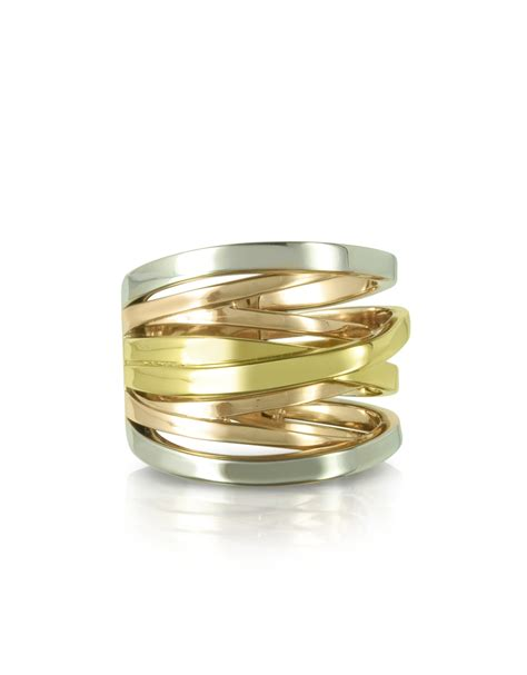 michael kors yellow gold and silver eternity ring in
