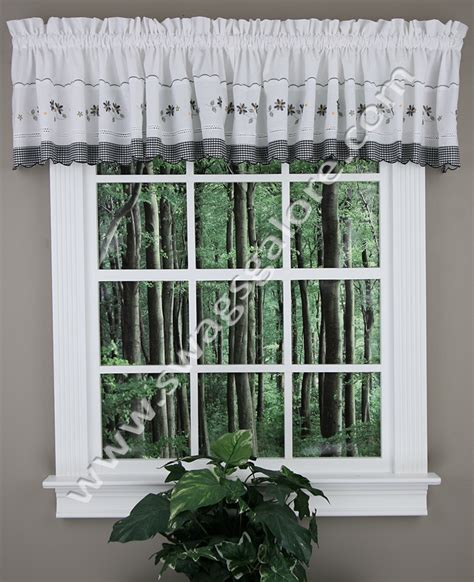 Black Valance Curtains Gingham Tailored Valance Black United Curtain Kitchen Valances