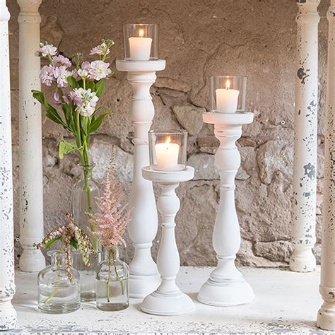shabby chic tall white candle holder set elegant event decor