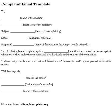 formal email complaint format complaint template new calendar template site