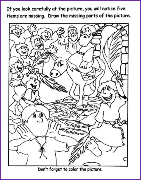 coloring page jesus triumphal entry bible printables objects puzzle book covers