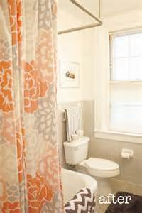 orange and grey shower curtain with chevron towel i
