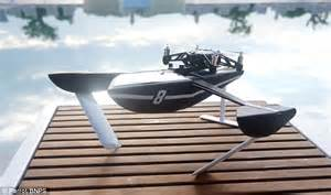 hydrofoil mini boat hydrofoil quadcopter drone seamlessly films from the air