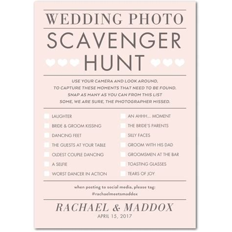 Polaroid Instant Film Guest Books How D It Go Wedding Photo Scavenger Hunt Template