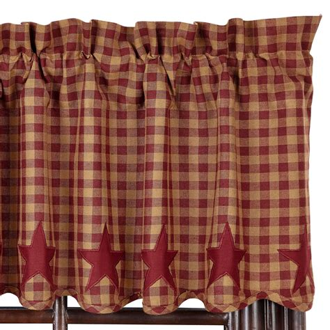 burgundy and black curtains star and check scalloped country curtain valance navy