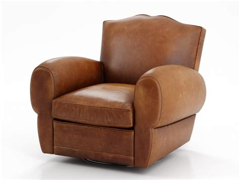 1940s French Mustache Leather Club Swivel Chair 3d Model Restoration Hardware Swivel Chair