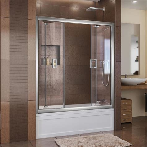 Butterfly Shower Door Shop Dreamline Butterfly 57 5 In To 59 In Frameless Chrome Bifold Shower Door At Lowes