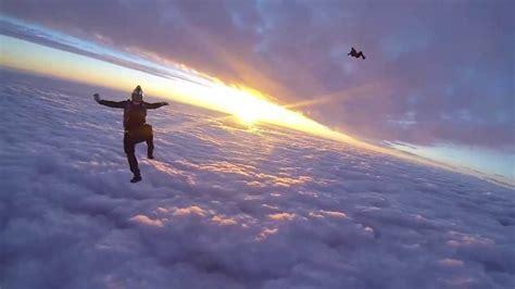 sky dive sunset skydive