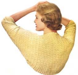 Vintage crochet shrug wrap sweater jacket pattern 50s ebay