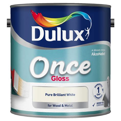 Dulux 1.25l Once Gloss Pure Brilliant White   Leekes