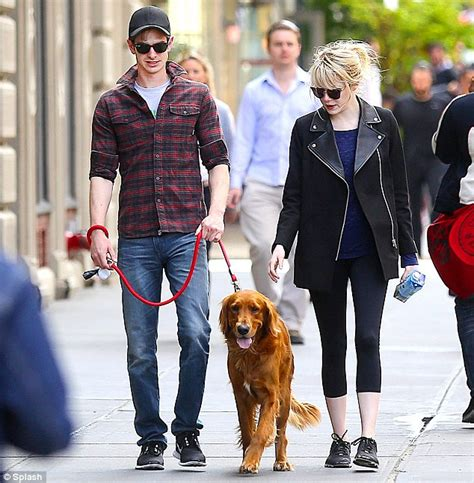 emma stone dog emma stone and andrew garfield take their puppy out for a