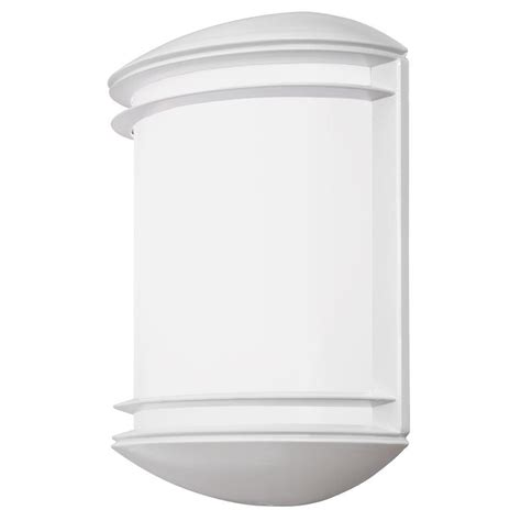 Lithonia Lighting Wall Mount Outdoor White LED Sconce Decorative Light OLCS 8 WH M4 The Home Depot