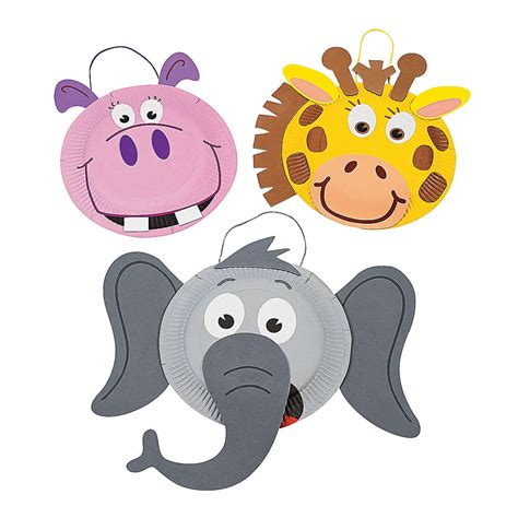 Paper Plate Animal Crafts - paper plate zoo animal craft kit trading