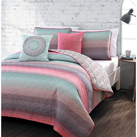 girls teal bedding 5 piece queen quilt set for girls beautiful coral pink