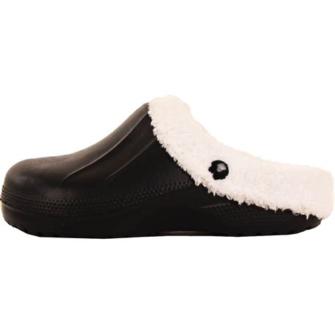 mens slip on fur lined clogs mules house shoes fleece