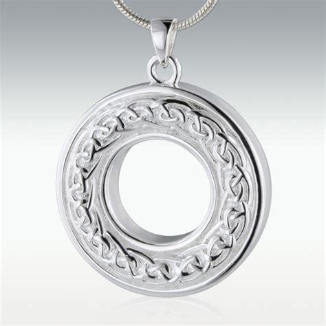 celtic eternity circle sterling silver cremation jewerly