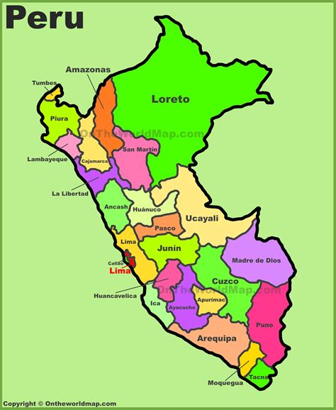 peru on the map administrative divisions map of peru