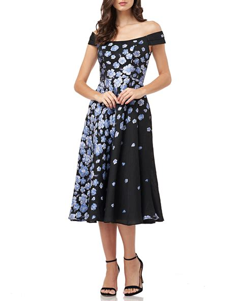 carmen marc valvo infusion   shoulder floral jacquard fit flare cocktail dress neiman