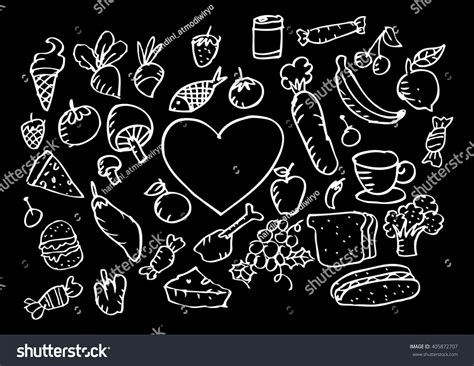 doodle food vector doodle food set vector illustration stock vector 405872707