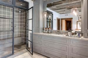 Country Style Bathroom Tiles by Blue Gray Bathroom Vanity With Shiplap Backsplash