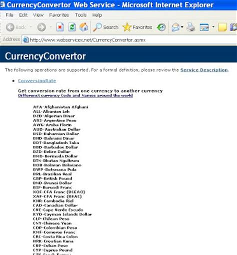 Currency Converter Web Service | shalvin microsoft net blogs and other interests