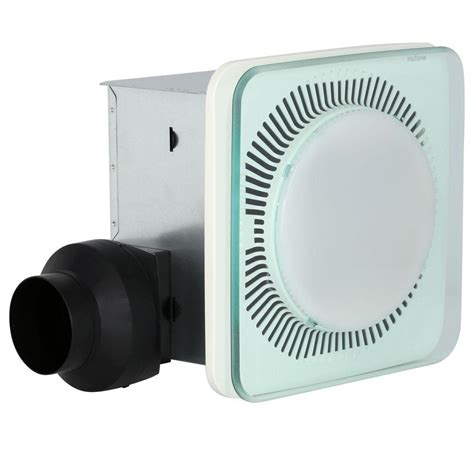 bathroom exhaust fan with light and nightlight nutone lunaura square panel decorative white 110 cfm