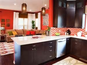 orange living room kitchen with chevron backsplash hgtv