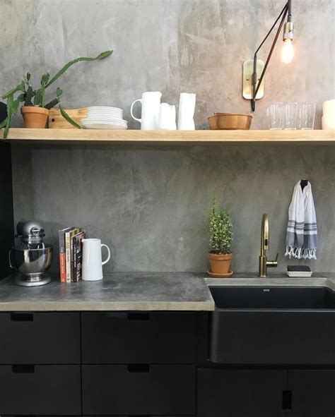 Concrete Countertop Backsplash 25 Concrete Kitchen Backsplashes With Pros And Cons Digsdigs