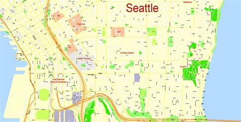 seattle map pdf seattle printable map wa us exact vector map g