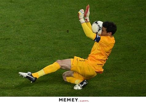 a goalkeeper saving the ball with his face memey com
