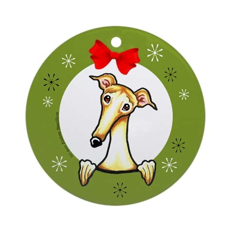 fawn greyhound whippet christmas ornament round by