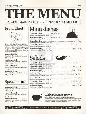 newspaper layout types restaurant menu design concept type of old newspaper