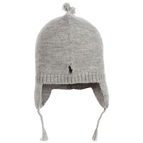 knit hat with ear flaps polo ralph boys grey merino wool knitted hat with