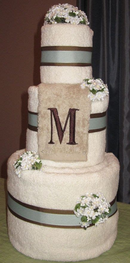 bridal shower towel cakes wedding towel cake gift for a bridal shower personalized with monogram and color scheme