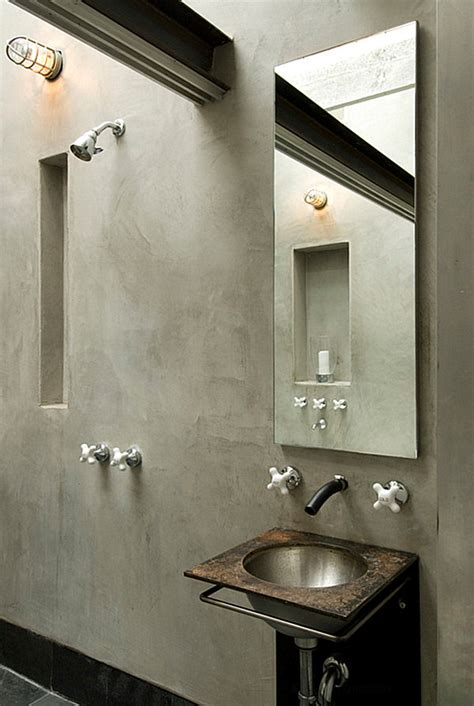Industrial Bathroom Design Gray Tones In An Industrial Bathroom Decoist