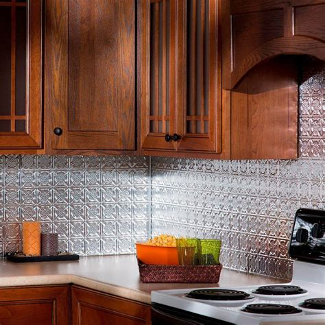 fasade kitchen backsplash fasade 24 in x 18 in traditional 6 pvc decorative backsplash panel in brushed aluminum b56 08